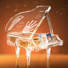 Customized Top Grade Glass Crystal Piano Music Model For Childern Birthday Gift
