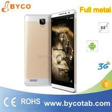 New arrival 5.5 inch screen dual sim 3G MTK Android 4.4 Full metal body mobile phone