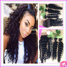 2015 best selling!!! deep wave closure weft 100 human hair virgin deep wave hair with closure malaysian deep wave with closure