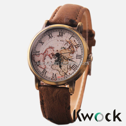 New Vintage Earth World Map Watch Alloy Women Men Analog Quartz Wrist Watches