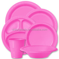 Sets of plastic plate for wedding/party/picnic 7''9''10'' tableware shrink plastic plate
