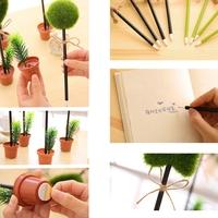 New Arrival!!! Green Grass Flower Pot Ballpoint Pen Writing Plant Stationery School Gift Shape Randomly For Office Home