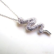 Girl Gift Wholesale Snake Necklaces For Women Jewelry , 925 Sterling Silver Micro Pave Setting Jewelry Accepted by paypal