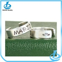 Latest popular letter design open adjustable wedding solid stainless steel ring