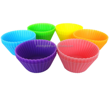 100% Food Grade Silicone Baking Cups, 12 Colorful & Reusable Cups, Eco-Friendly, BPA-Free, Non-Stick cake pan
