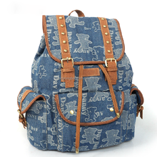 2015 hot sale printed denim school backpack with leather