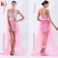 9097 Fashion strapless sexy backless rhinestone lace up beaded short front long back evening dress