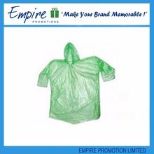 Fashion design high sale green disposal plastic poncho