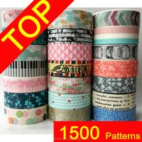 1500 patterns washi masking tape for mix,colorful paper tape,printing washi masking tape, craft washi masking tape