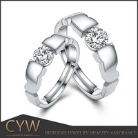 CYW 925 sterling silver AAA cz couple ring engagement rings diamond of China wholesale