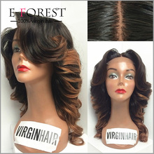 Top Fashion Lace Wigs Two Tone 1B/ #30 Peruvian Virgin Hair Ombre Wavy Full Lace Silk Base Wig For Black Women