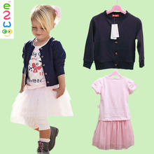 Kids Cardigan + Veil + Short Sleeve Three-piece Suit Skirt Clothing Sets Pictures Of Design Latest Skirt Suit