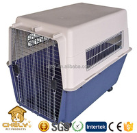 Comfortable large dog plastic pet carrier can be customized with wheel customized