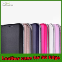 Wholesale Flip Leather Cover Case for Samsung Galaxy S6 Edge with Wake Function