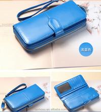 2015 New Fashion Women Sheepskin Handbag Purse Leather Wallet Card Package Long Wallet