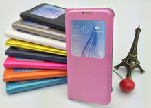 Flip cover case for samsung galaxy s6 for samsung galaxy s6 edge,window pu leather flip smartphone case
