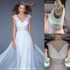 THX7393J Latest wedding dress high waist beaded v neck empire wedding dress chiffon wedding dress