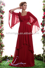 Ht4418 élégante manches longues oriental rouge fleur appliqued col v robe de mariée