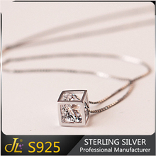 S925 jewelry hollow out small size and large size sterling silver cube designed necklace 925 fine jewelry