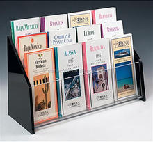 3 Tiered Acrylic Brochure Holder for Tabletop, 12 Pockets Fit 4 x 9 Pamphlets Black