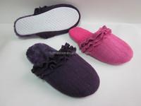 women's indoor home slipper falbala edges knitted wool scuff slipper for women