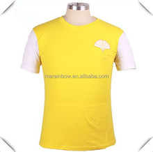 top quality cheap custom made short set in sleeve cheap yellow white Printing t shirt for men for advertisement ,giveaway