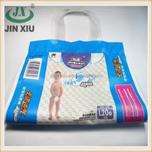 Top gusset soft loop handle plastic bag for paper diaper packing