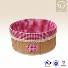 red check fabric with bamboo design basket