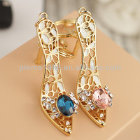 Mini gold color high heel shoe keychain/key ring for girls