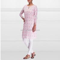 Pink flower printed cotton lady kurta pattern wholesale india kurtis