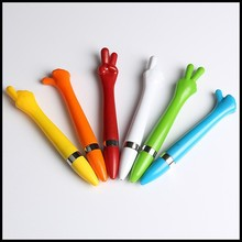 Hand shape cute type plastic ball pen free school supplies with Muliti colors