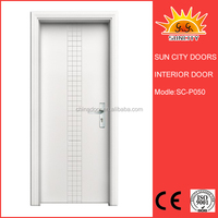 White MDF Glass insert entry door SC-P050