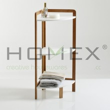 3 Tier Bamboo Corner Shelf /KD Shelf Corner Collection In Bamboo And MDF/Homex_FSC/BSCI