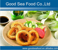Frozen breaded prefrying squid rings
