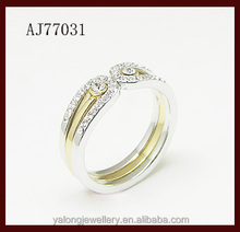 Fashion New twins white and gold o ring