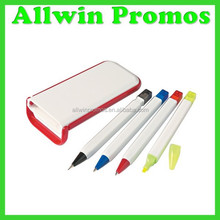 Ball Pen,Mechanical Pencil,Highlighter,4 In 1 Pen Set