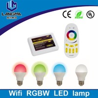 6W RGB Warm White LED Light Bulb Lamp E27 + 4-Zone programmable color temperature adjustable LED RGBW Remote Controller