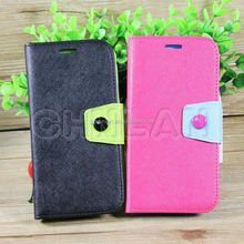 2014 Fashionable Dual Color With Button Stand Wallet Leather Case for Samsung S5 Flip Case
