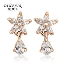 New design gold flower drop shinning women earrings 2015 jewelry wholesale