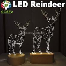 3D reindeer led christmas lights, USB led night light for home
