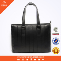 Guangzhou Bag Factory wholesale Black Genuine Leather Business Men's Office Laptop Leather Portfolio Tote Bag
