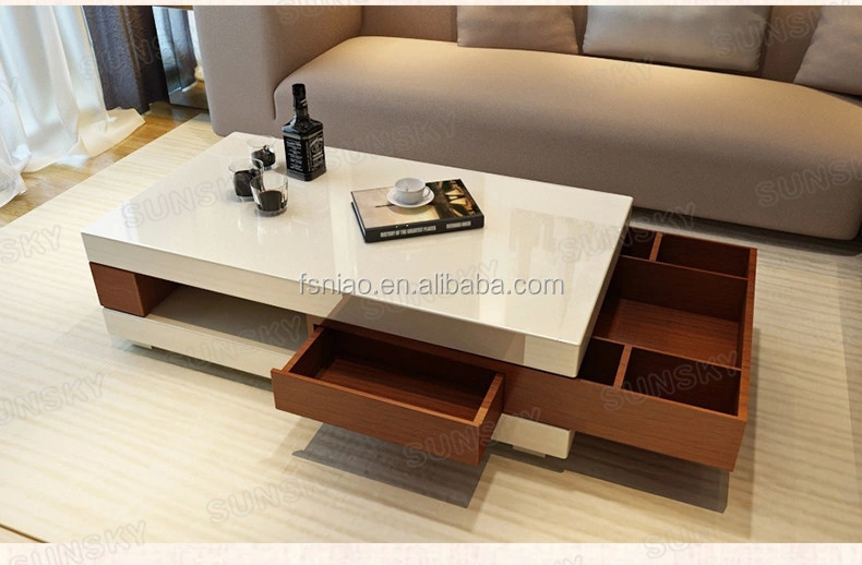 1453a Modern Wooden Coffee Table With Flexible Drawers
