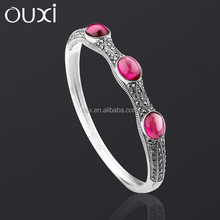 2015 OUXI fashion big red corundum couple bangle made with ancient silver G60003-2