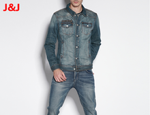 New Spring Autumn Denim Jacket For Men Bomber Jacket Jeans 2015 Blouson Homme Patchwork Pu Leather Sleeve Black Gray Color