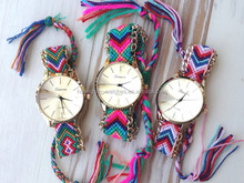 Friendship Bracelet Weave Straps Geneva Fabric Watch