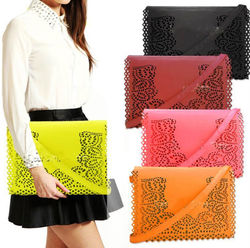 2015 new pu candy colors leather cheap envelop clutch bag