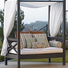 Outdoor Patio Wicker Rattan Bali Sunbed Day Bed Furniture Lounger Sofa, with Canopy and Pillows