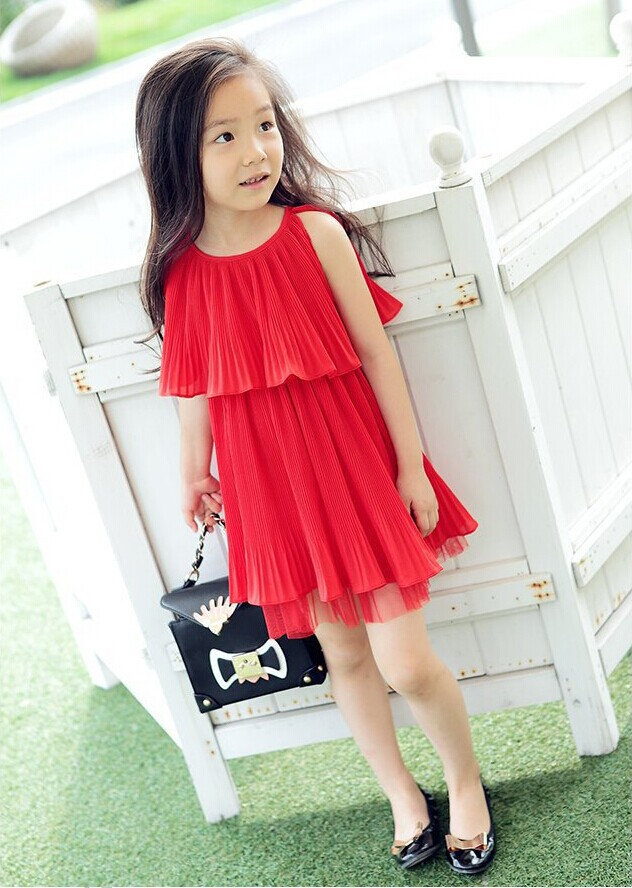 Girl dress red casual for child buy modern fashion kids wear dress
