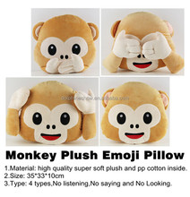 2015 Cheap various cute custom whatsapp emoji pillow fashion new soft stuffed plush monkey emoji pillow