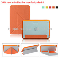 New leather folding pu leather wallet case for ipad mini